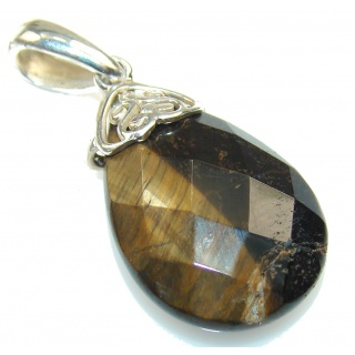 Very Petite!! Tigers Eye Sterling Silver Pendant