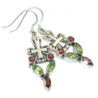 Stylish Red Garnet Sterling Silver earrings