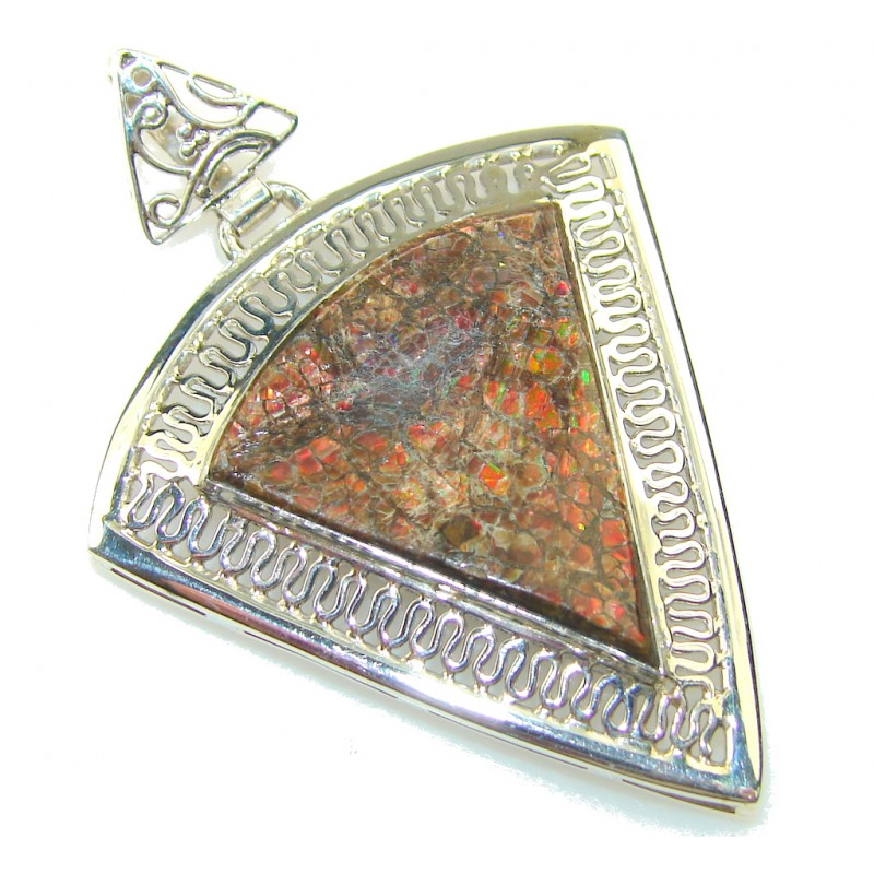 Amazing Design!! Red Ammolite Sterling Silver Pendant