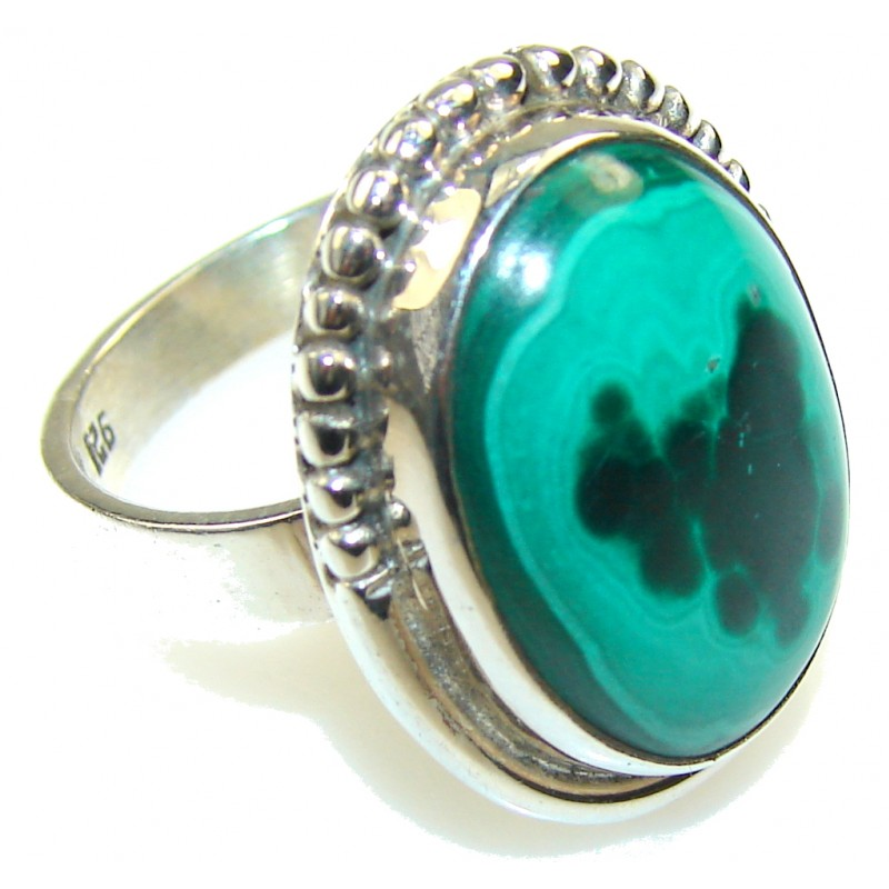 Fantastic Natural Malachite Sterling Silver Ring s. 7