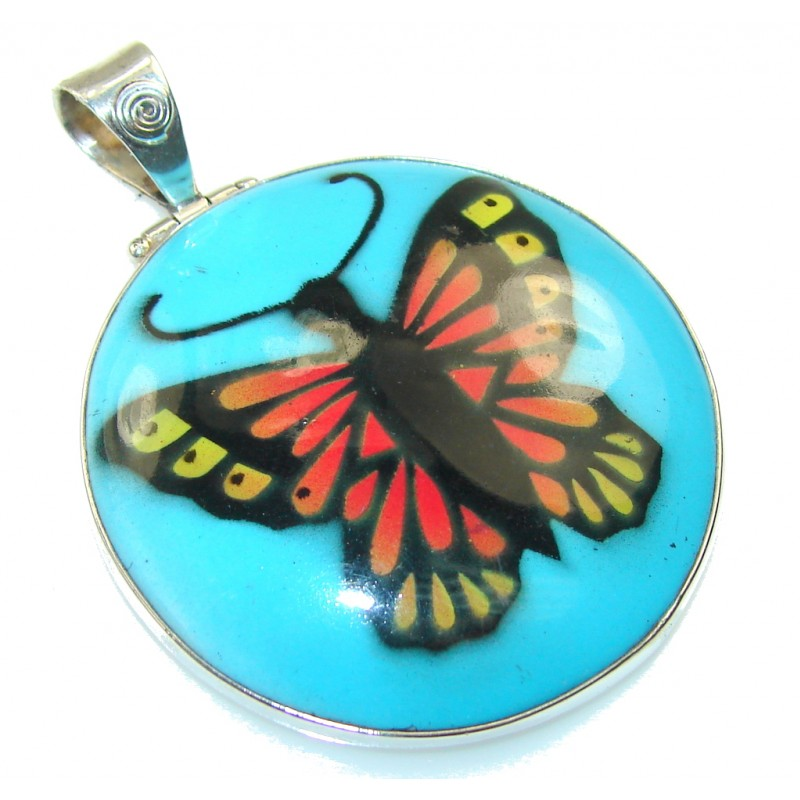 New Fabulous Design!! Blue Butterfly Turquoise Sterling Silver Pendant