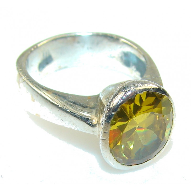 Perfect Yellow Citrine Quartz Sterling Silver Ring s. 8