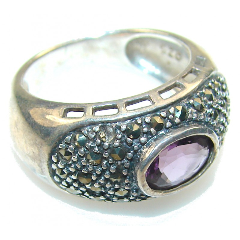 Delicate Purple Amethyst Sterling Silver ring s. 7