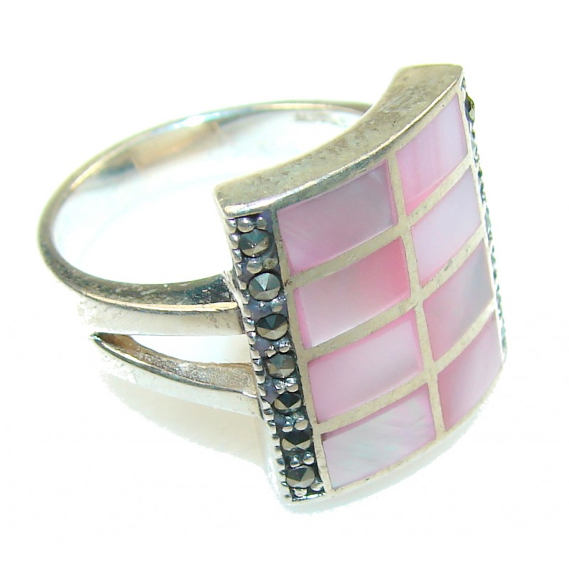 Beautiful Light Pink Blister Pearl Sterling Silver Ring s. 9