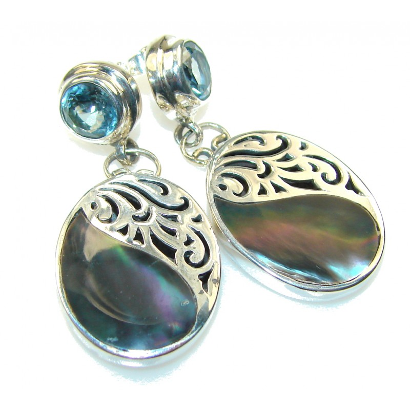Awesome Design!! Rainbow Abalone Sterling Silver earrings