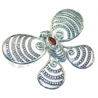 Precious Design Of Red Garnet Sterling Silver Pendant