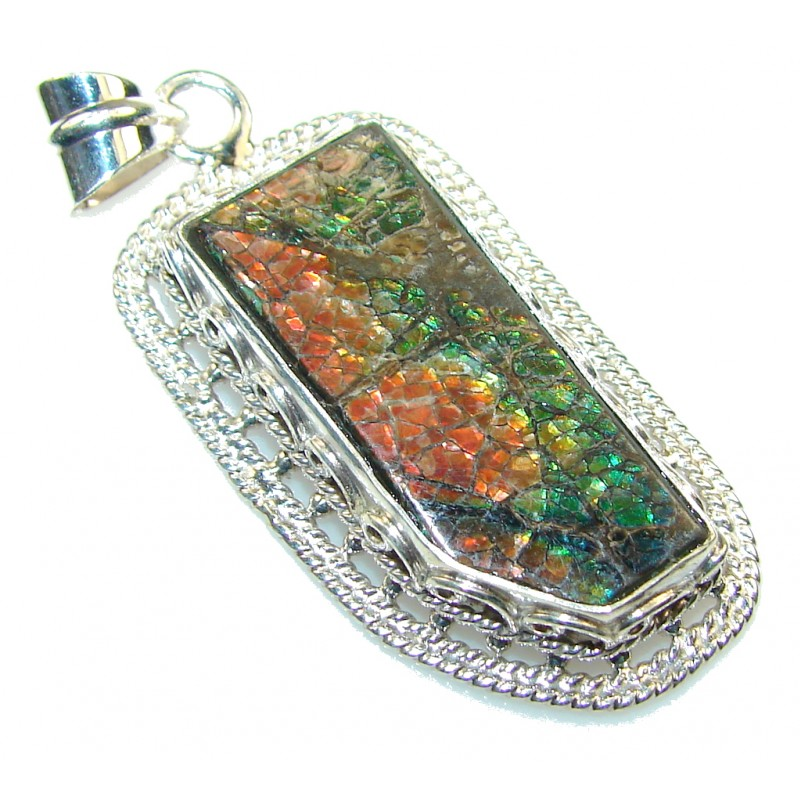 Lovely Red Ammolite Sterling Silver Pendant