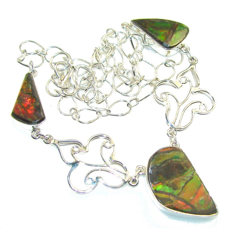 Aura Of Beauty!! Ammolite Sterling Silver necklace