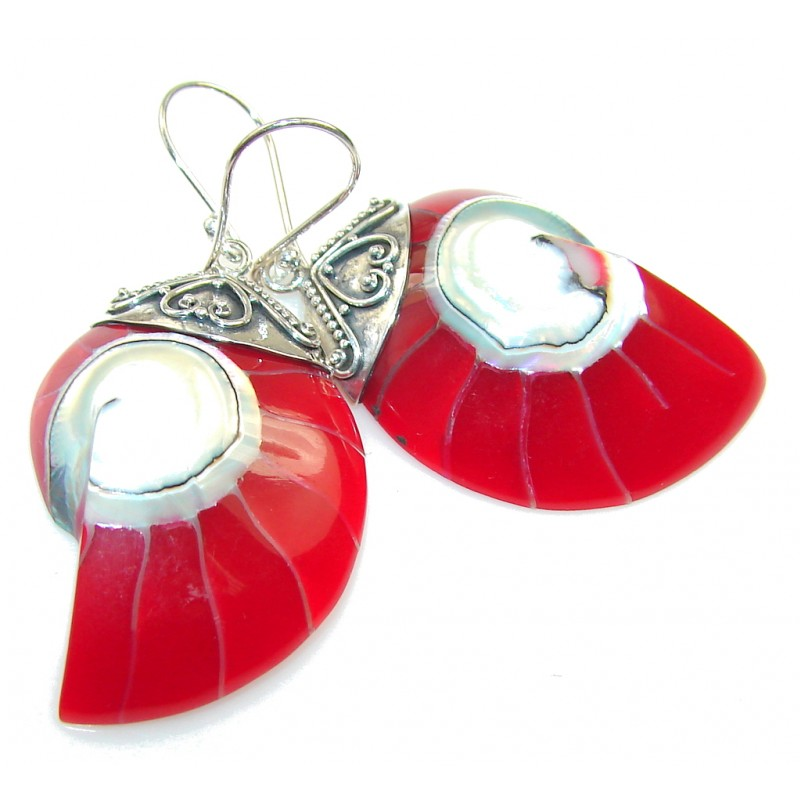 Lovely Red Ocean Shell Sterling Silver earrings