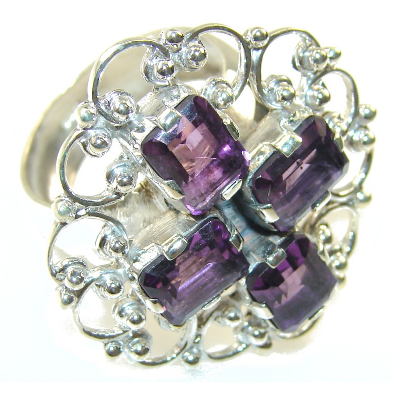 Beautiful Design!! Purple Amethyst Sterling Silver ring s. 12