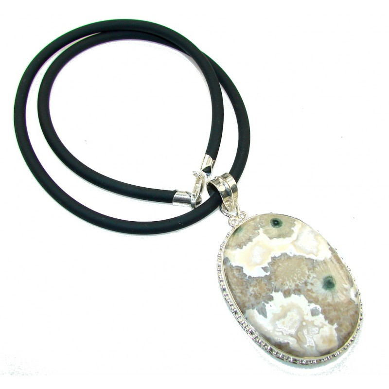 Great Impression!! Ocean Jasper & Leather Sterling Silver necklace