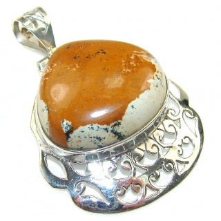 Excellent Brown Picture Jasper Sterling Silver pendant