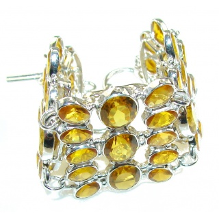 Bright Sun!! Yellow Citrine Sterling Silver Bracelet
