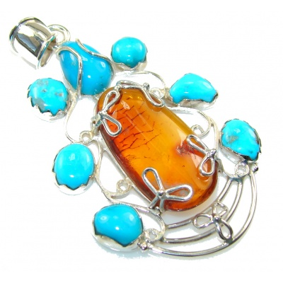 Big!Awesome Design!! Polish Amber Sterling Silver Pendant