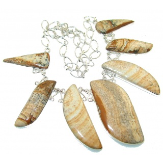 Excellent Design!! Picture Jasper Sterling Silver Necklace