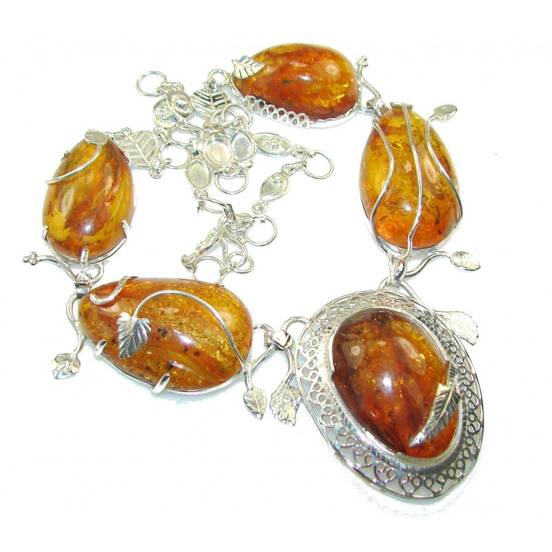 Galaxy Queen!! Fabulous Polish Amber Sterling Silver necklace