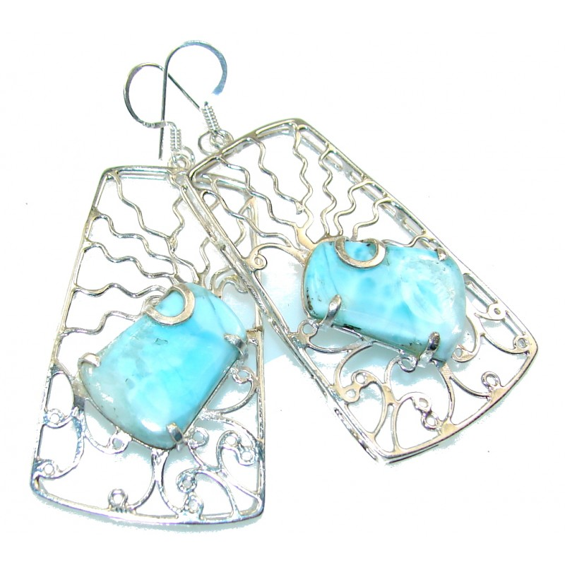 Big! New DEsign!! Blue Larimar Sterling Silver earrings