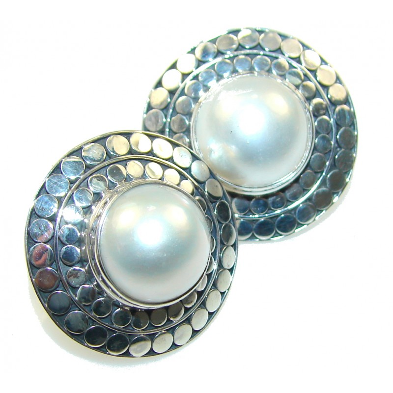 Big! Passion White Fresh Water Pearl Sterling Silver Earrings