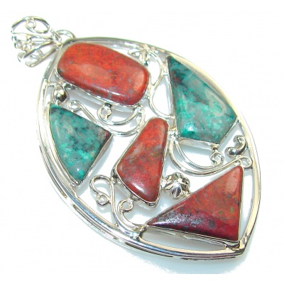 Stylish Red Sonora Jasper Sterling Silver Pendant