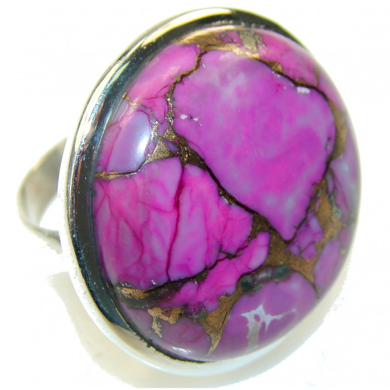 Purple Copper Turquoise Sterling Silver Ring s. 7 3/4