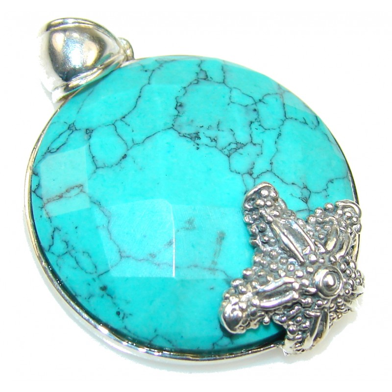 Stylish Blue Turquoise Sterling Silver Pendant