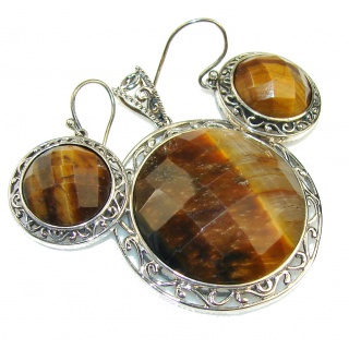 Amazing Design!! Brown Tigers Eye Sterling Silver / Set