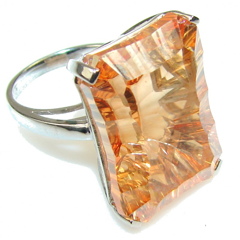 Luxury Golden Topaz Sterling Silver Ring s. 7 1/2