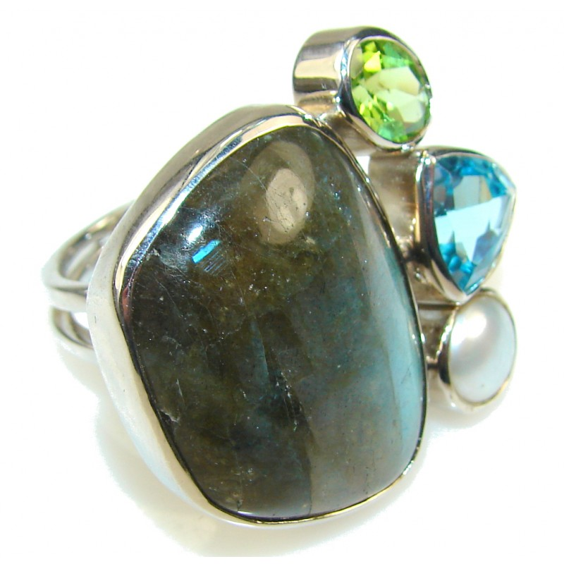 New Life!! Blue Labradorite Sterling Silver Ring s. 8