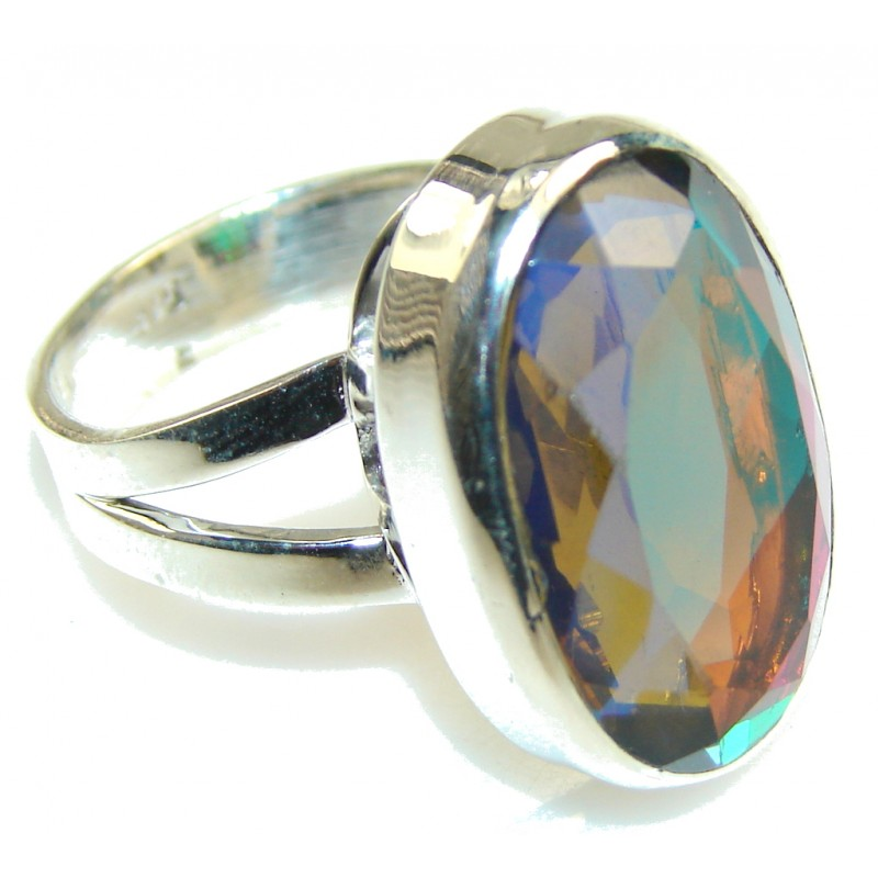Sweet Rainbow!! Dichroic Glass Sterling Silver ring s. 11 1/2