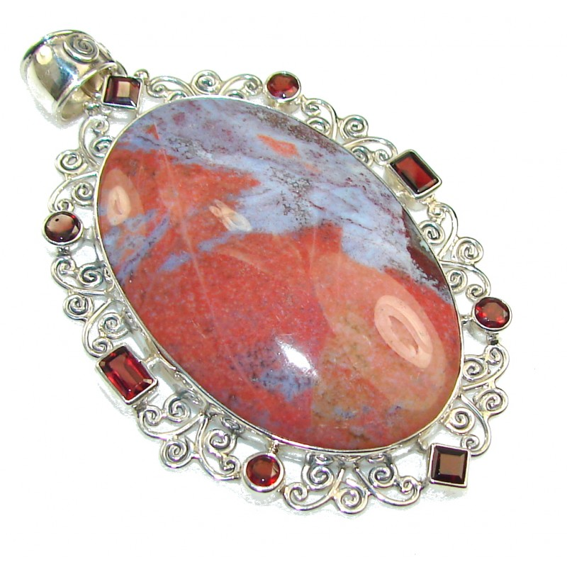 Big!! New DEsign! Montana Agate Sterling Silver Pendant