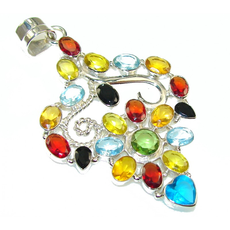 Tropical Style!! Multigem Sterling Silver Pendant
