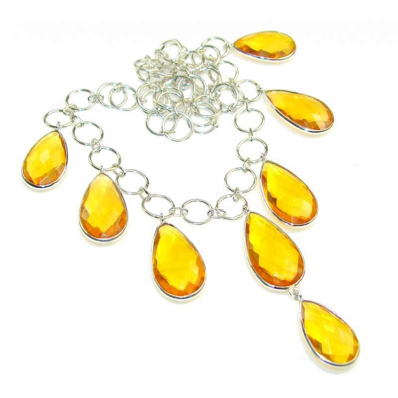 Summer Style Citrine Quartz Sterling Silver necklace