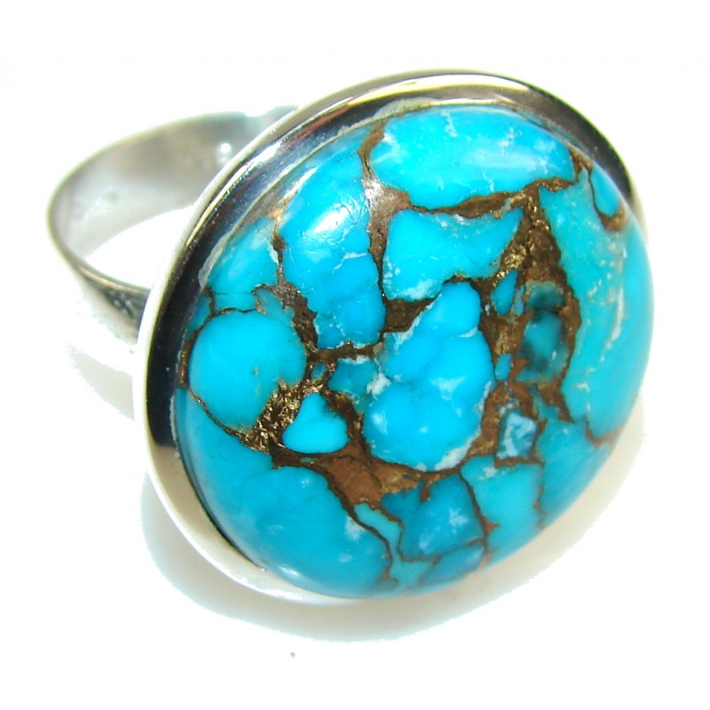 Blue Copper Turquoise Sterling Silver Ring s. 11 1/4