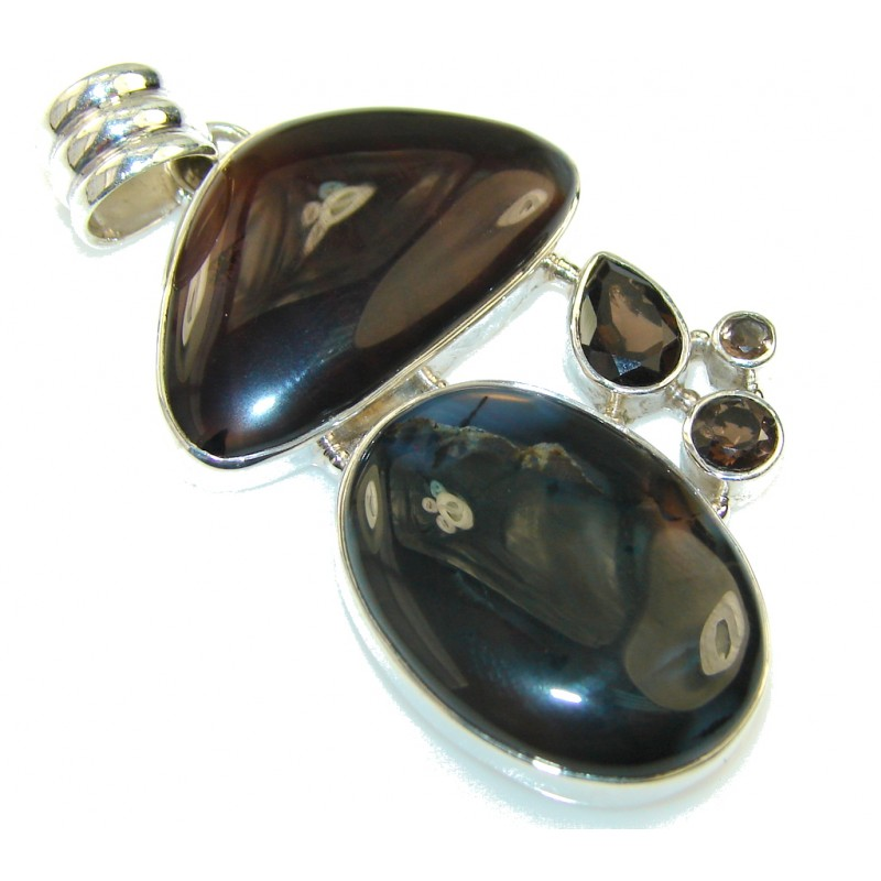 Unique Dark Brown Agate Sterling Silver Pendant