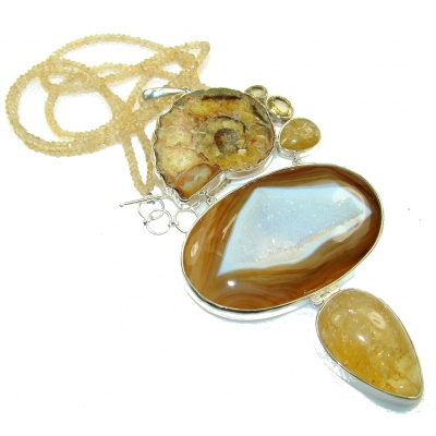 Huge Design Of Druzy Agate Sterling Silver necklace