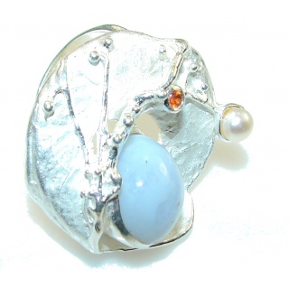 Big!! Amazing Italy Made Light Aquamarine Sterling Silver ring; 8 1/2