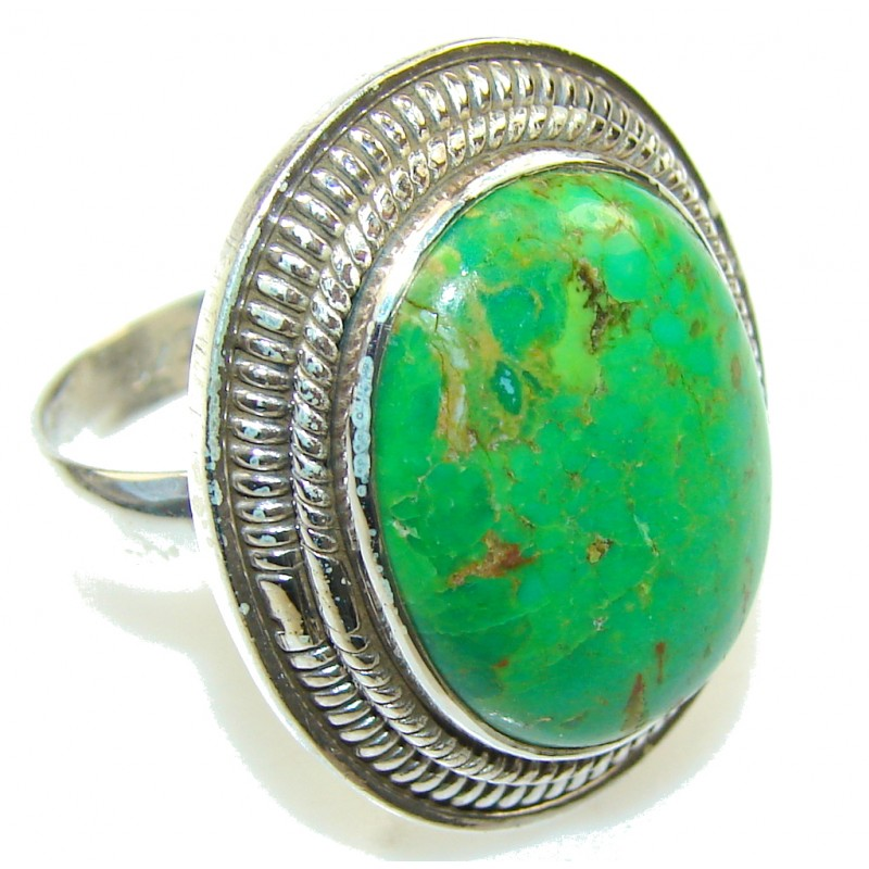Green Power!! Turquoise Sterling Silver Ring s. 8 1/4