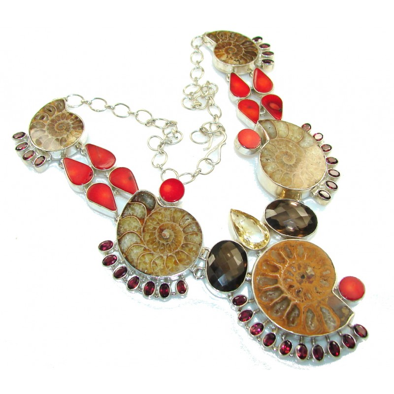 Huge!! Beautiful Ammonite Fossil Sterling Silver necklace