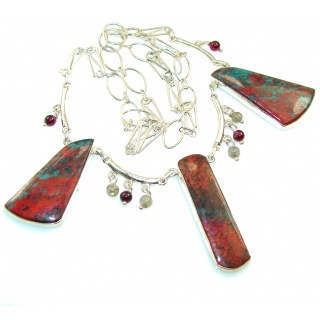 Precious Design!! Red Sonora Jasper Sterling Silver Necklace