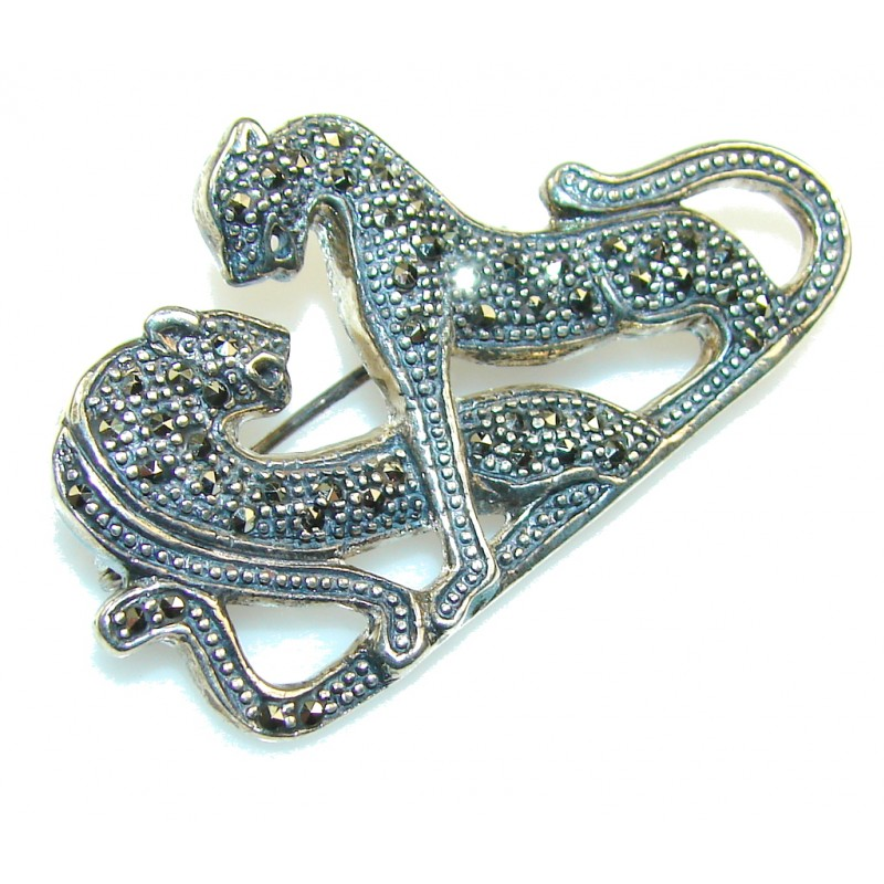 Lovely Fancy Marcasite Sterling Silver Pendant / Brooch