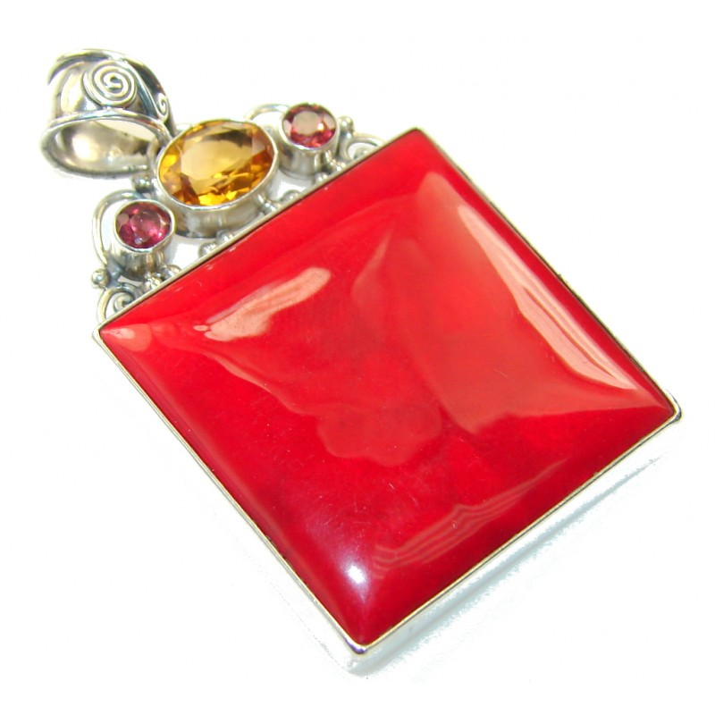 Natural Red Fossilized Coral Sterling Silver pendant