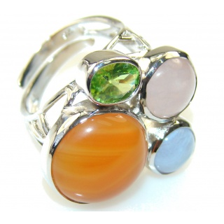 Aura Of Beauty!! Carnelian Sterling Silver ring s. 8 - Adjustable