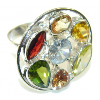 Spark Of Life Multicolor Quartz Sterling Silver Ring s. 11