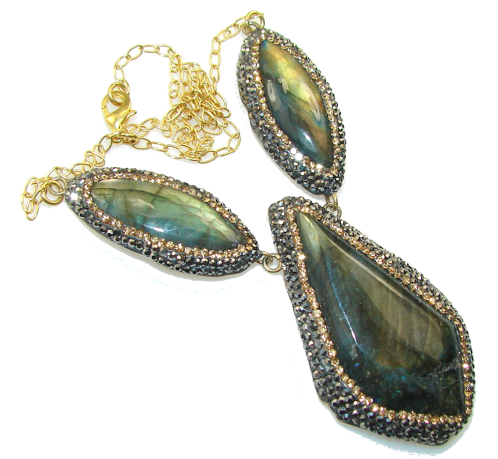 Amazing Design Fire Labradorite 18ct Gold Plated Sterling Silver Necklace