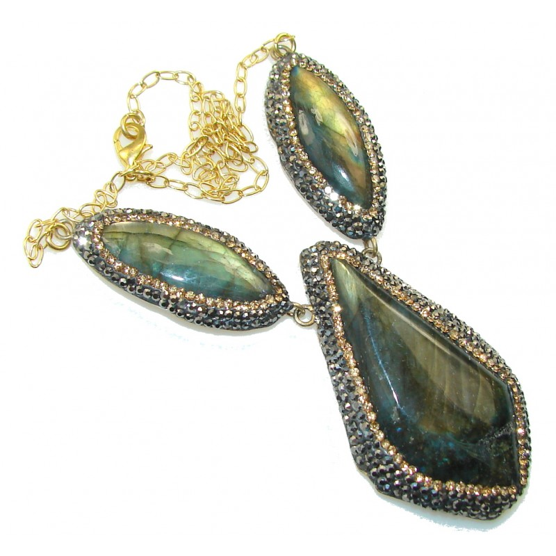Amazing Design!! Fire Labradorite 18ct. Gold Plated Sterling Silver necklace