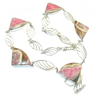 Natural Beauty!! Rhodochrosite Sterling Silver necklace