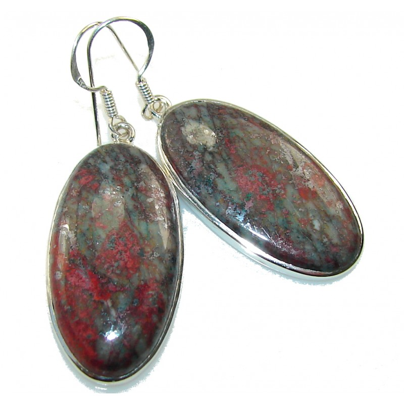 Classy!! Red Sonora Jasper Sterling Silver earrings