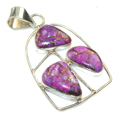 Amazing Purple Copper Turquoise Sterling Silver Pendant