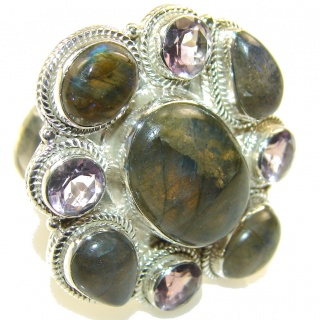 Big!! Stylish Blue Labradorite Sterling Silver Ring s. 12 1/2