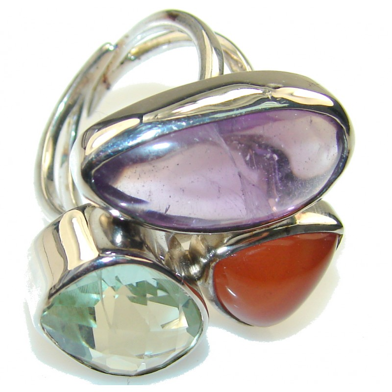 Fabulous Purple & Green Amethyst Sterling Silver ring; size 9 - Adjustable